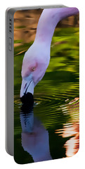 Pink Flamingo Ripples And Reflection Portable Battery Charger