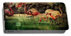 Pink Flamingos - Shangri-la Portable Battery Charger by Absinthe Art By Michelle LeAnn Scott