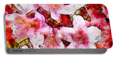 Portable Battery Charger featuring the painting Pink Flowers 2 by Greg Collins