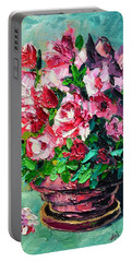 Portable Battery Charger featuring the painting Pink Flowers by Ana Maria Edulescu