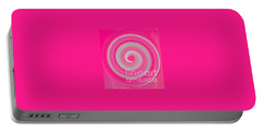 Portable Battery Charger featuring the digital art Pink Fluff by Catherine Lott
