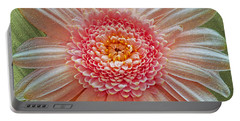 Pink Gerbera Textured Portable Battery Charger