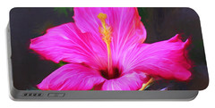Pink Hibiscus Digital Painting In Oil Portable Battery Charger
