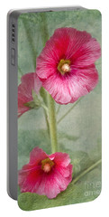 Pink Hollyhocks Portable Battery Charger by Lena Auxier
