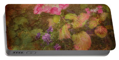 Pink Hydrangea And Purple Pansies Portable Battery Charger