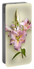 Pink Lilies On Cream Portable Battery Charger