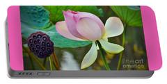 Pink Lotus Portable Battery Charger by Savannah Gibbs