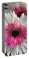 Pink N White Gerber Daisy Portable Battery Charger