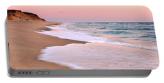Pink Pastel Beach And Sky Portable Battery Charger by Roupen  Baker