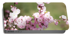 Pink Plum Branch On Green 2 Portable Battery Charger