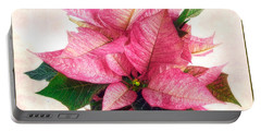 Pink Poinsettia Portable Battery Charger by Louise Kumpf
