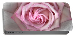 Portable Battery Charger featuring the photograph Pink Rose And Linen by Sandra Foster