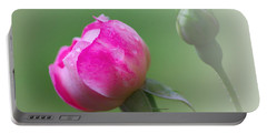Pink Rose And Raindrops Portable Battery Charger