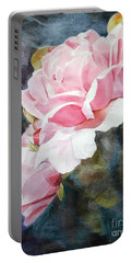 Pink Rose Caroline Portable Battery Charger by Greta Corens