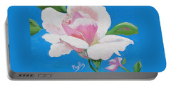 Portable Battery Charger featuring the painting Pink Rose In Paint by Phyllis Kaltenbach