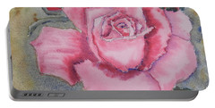 Pink Rose Portable Battery Charger by Pamela  Meredith