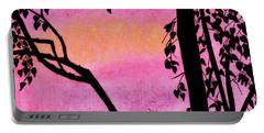 Portable Battery Charger featuring the drawing Pink Sky Sunset by D Hackett