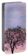Portable Battery Charger featuring the drawing Pink Sunset by D Hackett