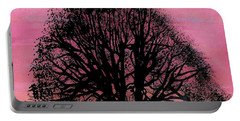 Portable Battery Charger featuring the drawing Pink Sunset Tree by D Hackett