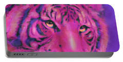 Pink Tiger Portable Battery Charger by Jane Schnetlage