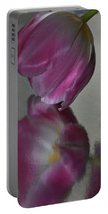Pink Tulip Reflected In Silver Water Portable Battery Charger