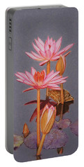 Pink Water Lilies Portable Battery Charger
