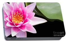 Portable Battery Charger featuring the photograph Pink Water Lily And Pad by Rebecca Cozart