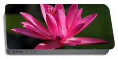 Pink Water Lily Portable Battery Charger by Meg Rousher