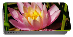 Pink Water Lily Portable Battery Charger by Sherman Perry