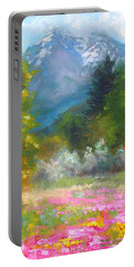 Pioneer Peaking - Flowers And Mountain In Alaska Portable Battery Charger