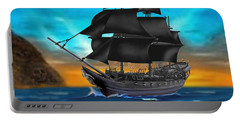 Pirate Ship At Sunset Portable Battery Charger
