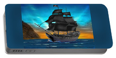 Pirate Ship At Sunset Portable Battery Charger by Glenn Holbrook