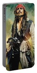 Pirates Of The Caribbean Johnny Depp Artwork 1 Portable Battery Charger by Sheraz A