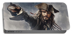 Pirates Of The Caribbean Johnny Depp Artwork 2 Portable Battery Charger by Sheraz A