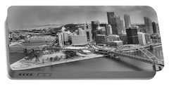 Pittsburgh Black And White Winter Panorama Portable Battery Charger by Adam Jewell