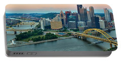 Pittsburgh Panorama At Dusk Portable Battery Charger by Adam Jewell
