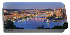 Pittsburgh Pennsylvania Skyline At Dusk Sunset Extra Wide Panorama Portable Battery Charger