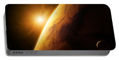 Planet Mars Close-up With Sunrise Portable Battery Charger
