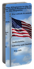 Pledge Of Allegiance Portable Battery Charger by Paul  Wilford