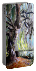 Portable Battery Charger featuring the painting Plein Air At Fort Dent Park by Wendy Ray