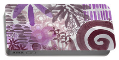 Plum And Grey Garden- Abstract Flower Painting Portable Battery Charger