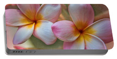 Portable Battery Charger featuring the photograph Plumeria Pair by Peggy Hughes