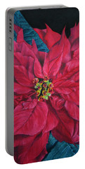 Poinsettia II Painting Portable Battery Charger by Marna Edwards Flavell