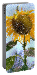 Pointillist Sunflower In Sun City Portable Battery Charger by Barbie Corbett-Newmin