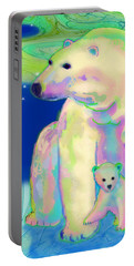 Portable Battery Charger featuring the painting Polar Bear Aurora by Teresa Ascone