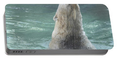 Polar Bear Jumping Out Of The Water Portable Battery Charger by John Telfer