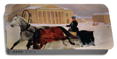 Pole Pair With A Trace Horse At The Bolshoi Theatre In Moscow Portable Battery Charger by Nikolai Egorevich Sverchkov