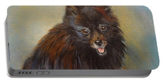 Portable Battery Charger featuring the painting Pomeranian by Jenny Lee