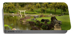 Pond Rocks Grass And Japanese Arch Singapore Portable Battery Charger