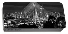 Sao Paulo - Ponte Octavio Frias De Oliveira By Night In Black And White Portable Battery Charger